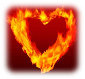 Heart on fire edges